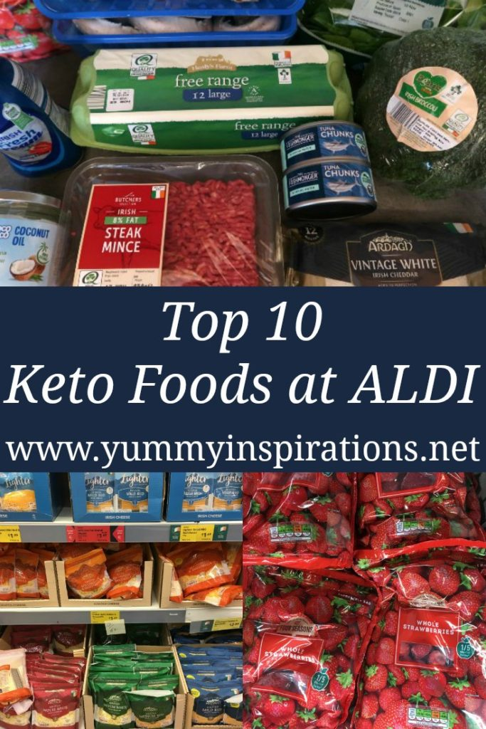 Top 10 Keto Foods At ALDI - best low carb foods to put on your grocery shopping list to buy and eat from ALDI Supermarket.
