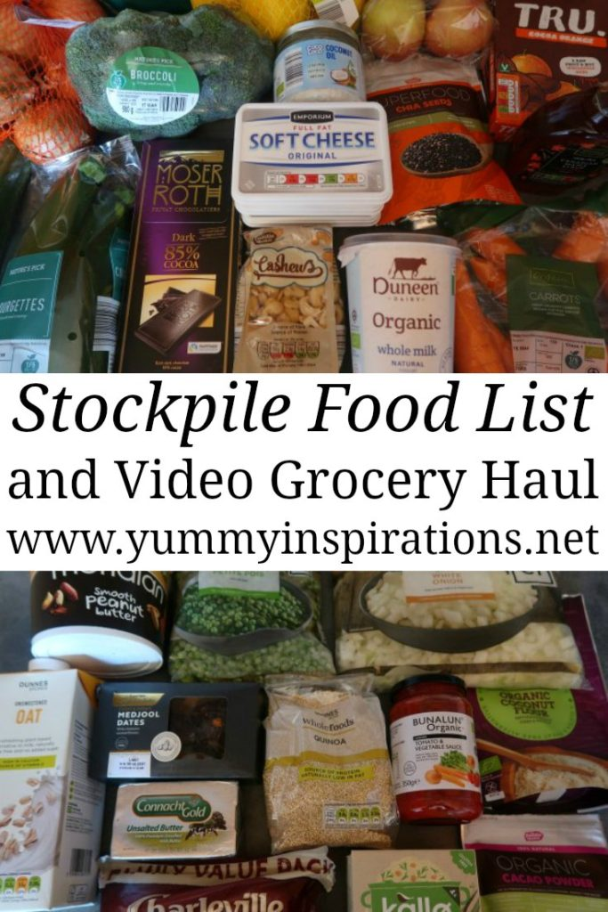 Stockpile Food List - Ideas for food items to stock up on while you can and easy meals you can put together. Plus a video grocery haul and my own stockpile of foods.