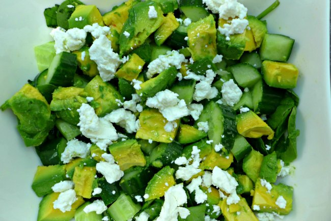 Avocado, cucumber and goats cheese salad