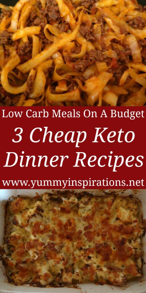 3 Cheap Keto Dinner Recipes - Easy Low Carb Meals - Ketogenic Ideas On A Budget with the recipes and videos for the cheap dinners.