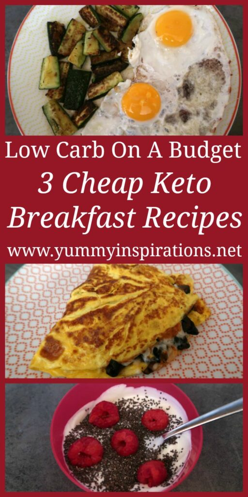 3 Cheap Keto Breakfast Ideas – Easy low carb recipes for quick breakfasts on a budget. With a video showing you how to make the simple breakfast dishes.