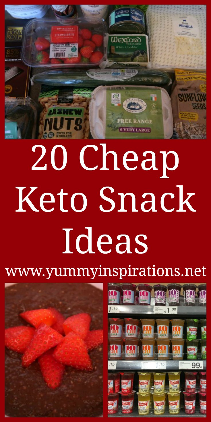 20 Cheap Keto Snacks - List of quick and easy low carb budget friendly snack ideas for on the go, late night or during movies - homemade and store bought - with the video.