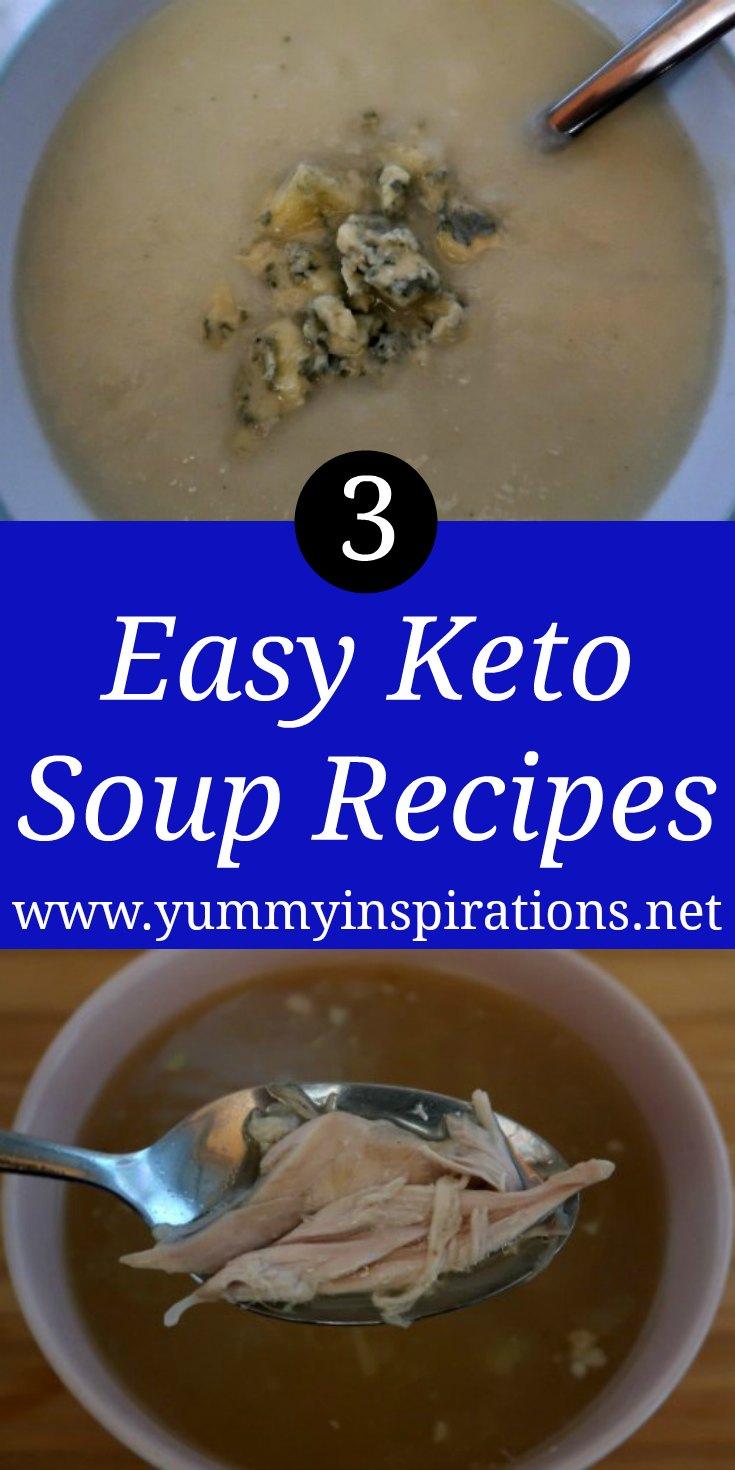 3 idées de soupe Keto - Comment faire des soupes faciles à faible teneur en glucides avec des légumes, du poulet et d'autres ingrédients cétogènes - avec la vidéo.