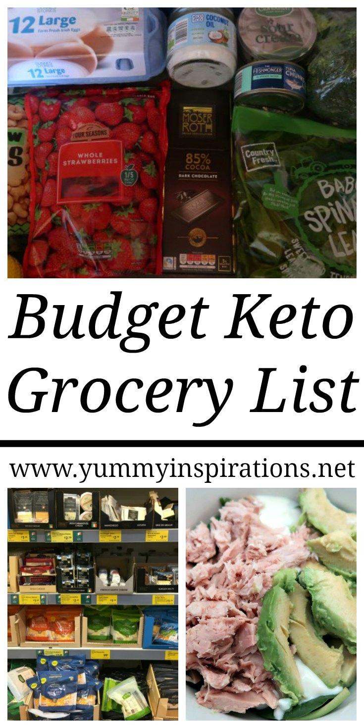 Budget Keto Grocery List - Liste de courses complète pour suivre une faible teneur en glucides sur un budget avec des idées de repas faciles et bon marché et des vidéos.