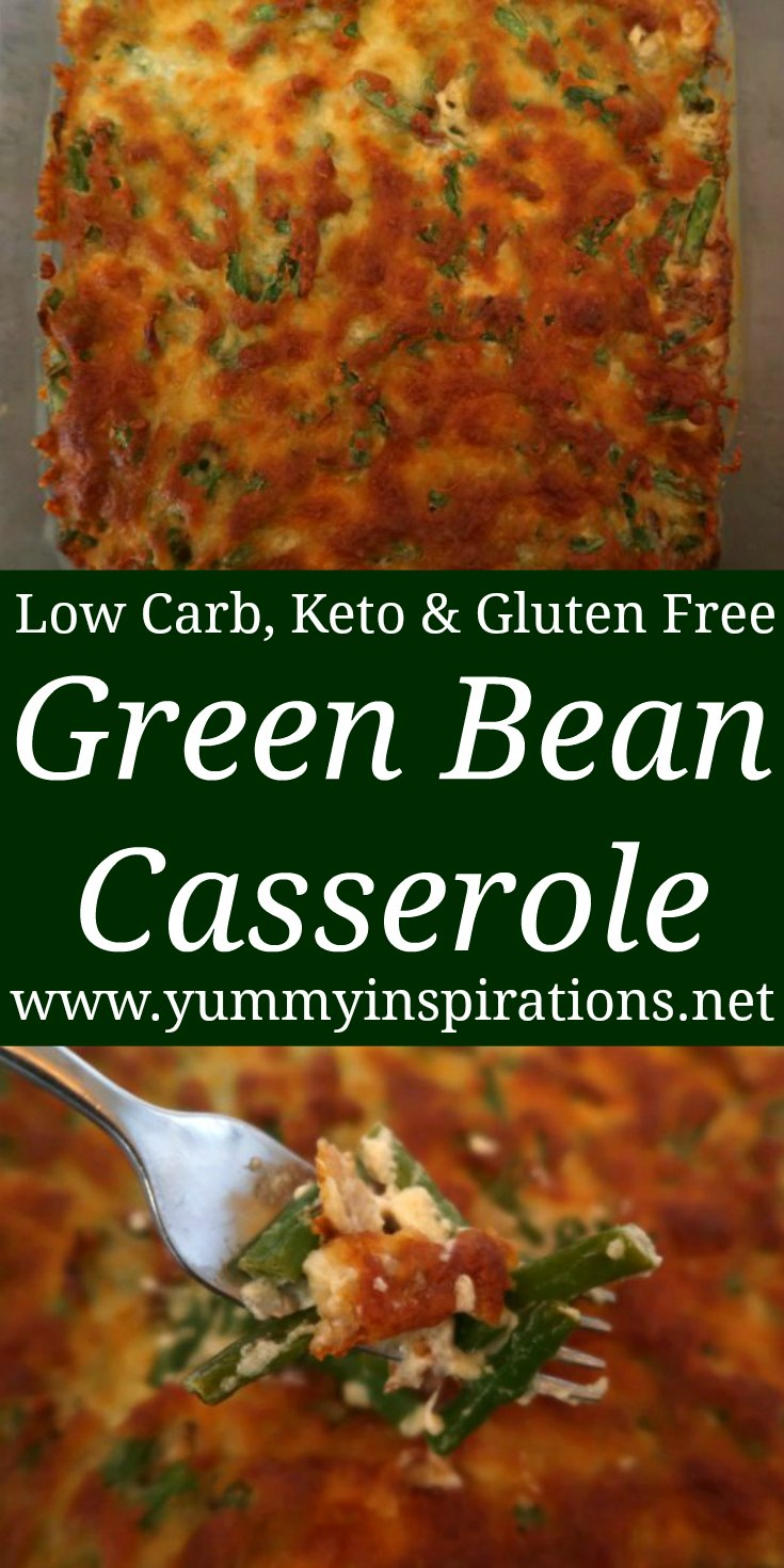 Cheesy Green Bean Casserole Recipe - Best Ever Easy Low Carb, Keto & Gluten Free Vegetarian Side Dish Idea with cheese and sour cream - with the video.