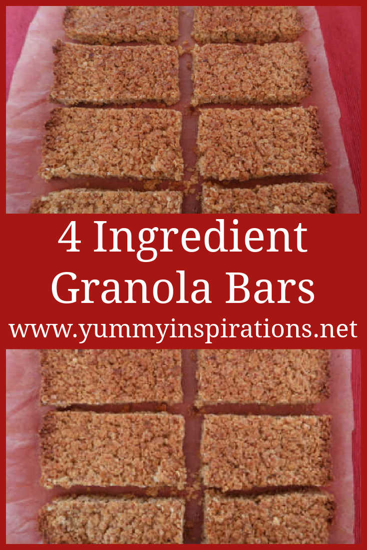 Baked Granola Bar Recipe - How to make easy homemade 4 ingredient DIY simple granola oat bars - school friendly with no nuts & gluten free - with the video.