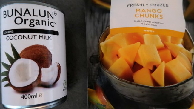 The 2 ingredients needed - mangoes and coconut milk