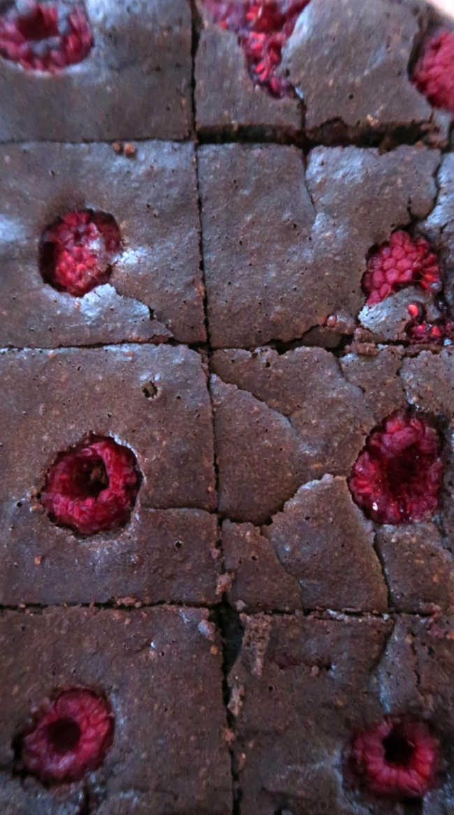 Easy gluten free almond flour brownies with raspberries