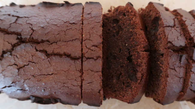 Sliced homemade chocolate bread